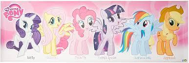 Amazon Com Buyartforless My Little Pony Pink Characters 36x12 Art Print Poster Girl Kids Wall Decor Rarity Fluttershy Pinkie Pie Twilight Sparkle Rainbow Dash Apple Dash Posters Prints
