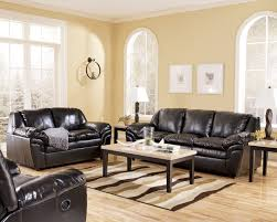 living room black leather couch on the