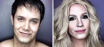 guy transforms his face with makeup to