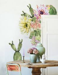 Watercolor Pink Yellow Cactus Florals Wall Decal Sticker Wall Decals Wallmur