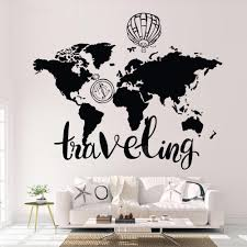 Traveling World Map Wall Decal In 2020 World Map Wall Decal Map Wall Decal World Map Wall