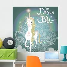Dream Big Cute Unicorn Wall Decal Wallmonkeys Com