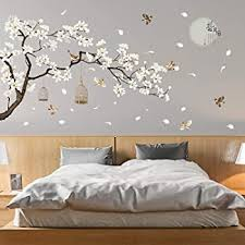 Amazon Com Decowall Dw 1510 Birds On Tree Branch With Bird Cages Kids Wall Stickers Wall Decals Peel And Stick Removable Wall Stickers For Kids Nursery Bedroom Living Room Grey Decor Kitchen Dining