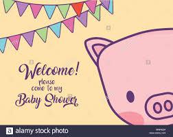 Tarjeta De Invitacion De Baby Shower Con Cerdo Lindo Icono Y