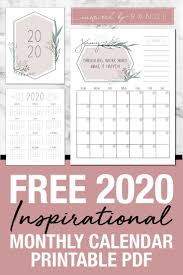 monthly calendar pages include an inspirational