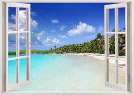 Tropical Caribbean Beach Wall Decal 3d Window Tropical Beach Etsy Beach Wall Decals Kids Room Wall Stickers Wall Stickers Bedroom