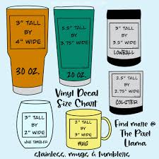 Vinyl Decal Size Chart For Cups In 2020 Cricut Projects Vinyl Tumbler Cups Diy Vinyl