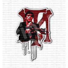 From 4 50 Buy Tony Montana Tm Scarface Al Pacino Movie Sticker At Print Plus In Stickers Movie Music At Print Plus Scarface Tony Montana Al Pacino