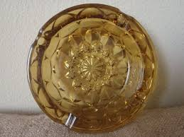 large amber gold glass ashtray by