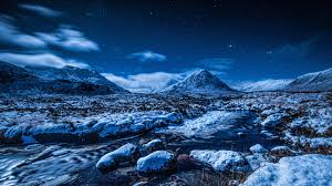 night sky stars mountains stream snow