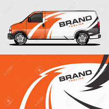 Car Livery Orange Van Wrap Design Wrapping Sticker And Decal Royalty Free Cliparts Vectors And Stock Illustration Image 124381060