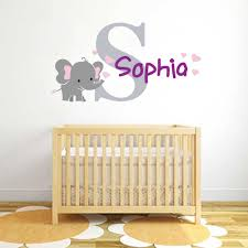 Elephant Name And Initial Wall Decal Vinyl Sticker Krafmatics