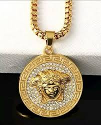 pendant necklace iced out mens gold