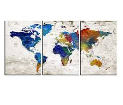 Amazon Com World Map Wall Art Push Pin Canvas Print Watercolor Map Poster Printed On Canvas Framed Map Of World Wall Art Interior Wall Decal Hr107 Handmade