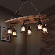 rustic island chandelier iron and wood