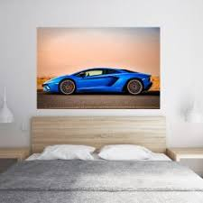 Lamborghini Wall Sticker Wall Decal Art Mural Blue Side Studio