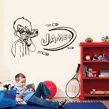 Nerf Gun Games Wall Sticker Customize Names Removable Wall Mural Gun Boys Vinyl Wall Decal Kids Palyroom Cool Decoration Lw729 Buy At The Price Of 4 98 In Aliexpress Com Imall Com