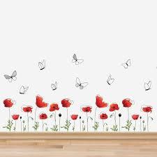 Winston Porter Poppy Flowers Skirting Wall Decal Reviews Wayfair