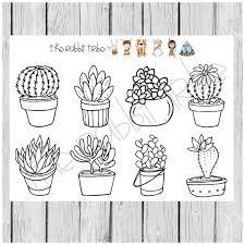 Kleurplaat Vakken Vetplanten Cactus Kleurplaten Kleuren In Etsy