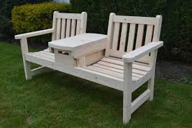 english twin seater bench with table