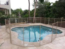 Brown Mesh With Beige Border And Poles Florida Pool Pool Houses Pool Fence