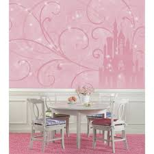 Roommates 72 In X 126 In Disney Princess Scroll Castle Chair Rail Pre Pasted Wall Mural Jl1316m The Home Depot