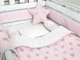 pink star organic cot baby bedding set