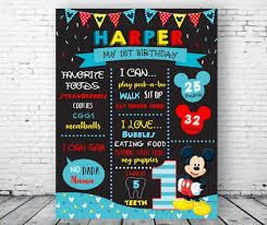mickey mouse 1st birthday chalkboard