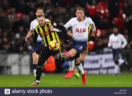 Toby Alderweireld of Tottenham Hotspur battles with Gerard ...