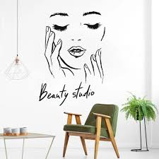 Female Face Vinyl Wall Decal Beauty Studio Door Sticker Cosmetic Makeup Wall Art Stickers Mural Removable Salon Decoration Wall Stickers Aliexpress