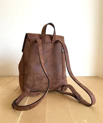 faux leather brown backpack vegan