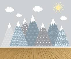 Mountain Wall Decals Sun And Cloud Decals Wall Mural Etsy