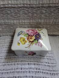 porcelain box glass trinket box vintage