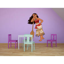 Moana Disney Cartoon Character Wall Decal Vinyl Sticker Art Home Decor Sticker Vinyl Mural Baby Kids Room Bedroom Nursery Kindergarten School House Home Art Design Removable Peel And Stick 20x12 Inch