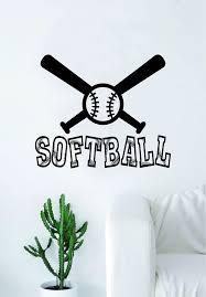 Softball Bats And Ball Wall Decal Sticker Bedroom Living Room Art Viny Boop Decals