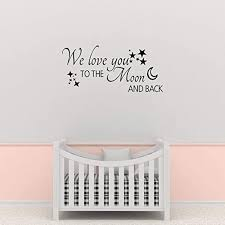 Amazon Com Empresal We Love You To The Moon And Back Wall Decal Nursery Decals Vinyl Decor Baby Boy Home Sticker Home Kitchen
