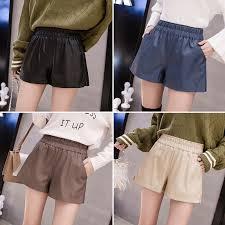 leather shorts women plus size wide leg