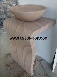 wood grain sandstone pedestal basins