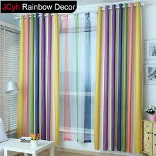 Jrd Rainbow Striped Blackout Curtains For Living Room Short Door Drapes Modern Children Bedroom Curtain Bo Colorful Curtains Kids Curtains Curtains Living Room
