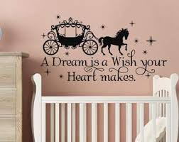 Amazon Com Yilooom Cinderella Quote Wall Decal A Dream Is A Wish Your Heart Makes Fairy Wall Stickers Cinderella Nursery Decor Cinderella Baby Wall Decor 22 Inch In Width Kitchen Dining