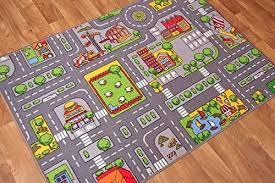 Amazon Com The Rug House Children S Play Village Mat Town City Roads Rug 95cmx133cm 3ft1 X4ft4 Home Kitchen