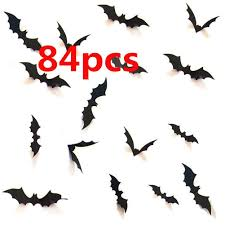 Halloween 3d Bats Decoration Hallowmas Party Supplies Scary Bat Sticker For Home Decor Diy Window Decal Bathroom Indoor 84pcs Walmart Com Walmart Com