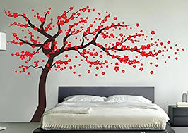 Amazon Com Fymural Plum Blossom Tree Wall Sticker Vinyl Removable For Livingroom Kid Baby Nursery Home Mural Paper Diy Decals 102 4x66 9 Brown Red Arts Crafts Sewing