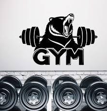 Vinyl Wall Decal Gym Logo Fitness Barbell Bear Predator Animal Sticker Wallstickers4you
