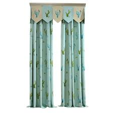 Baby Blue Cute Cactus Curtains For Kids Room Without Valance