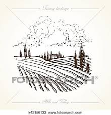 Tuscany Landscape Hand Drawn Illustration Clipart K43156133 Fotosearch