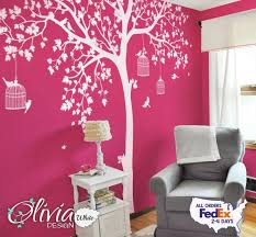 Baby Nursery Large White Tree Vinyl Wall Decal With Hot Pink Etsy