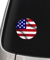 Baseball Softball Usa American Flag Sticker Vinyl Window Decal