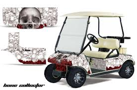 Club Car Precedent Golf Cart Graphics Bone Collector White Golf Cart Graphic Decal Kit Golf Cart Graphic Kits Graphic Kits