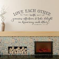 Christian Wall Decor Love Each Other With Genuine Affection Etsy Christian Wall Decor Scripture Vinyl Bible Verse Wall Decals